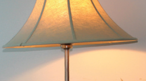 Lamp with warm white bulb