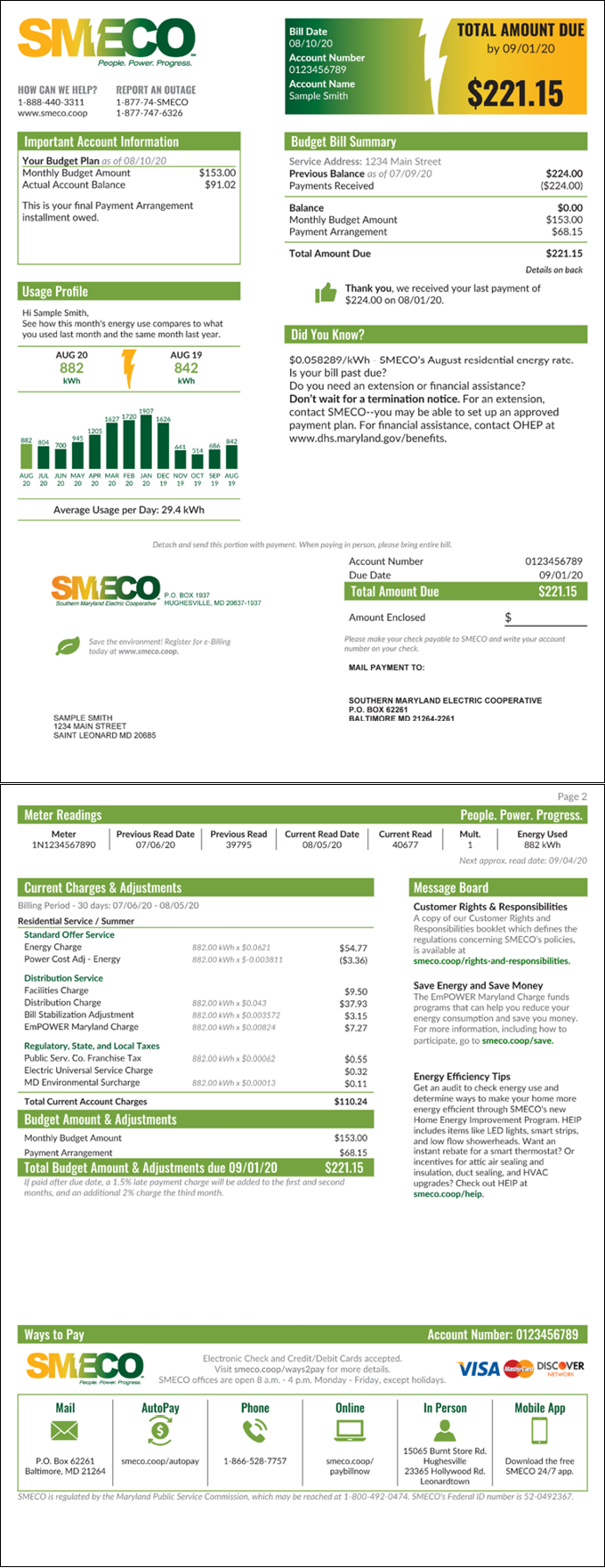 SMECO Sample Budget and Payment Plan Energy Bill