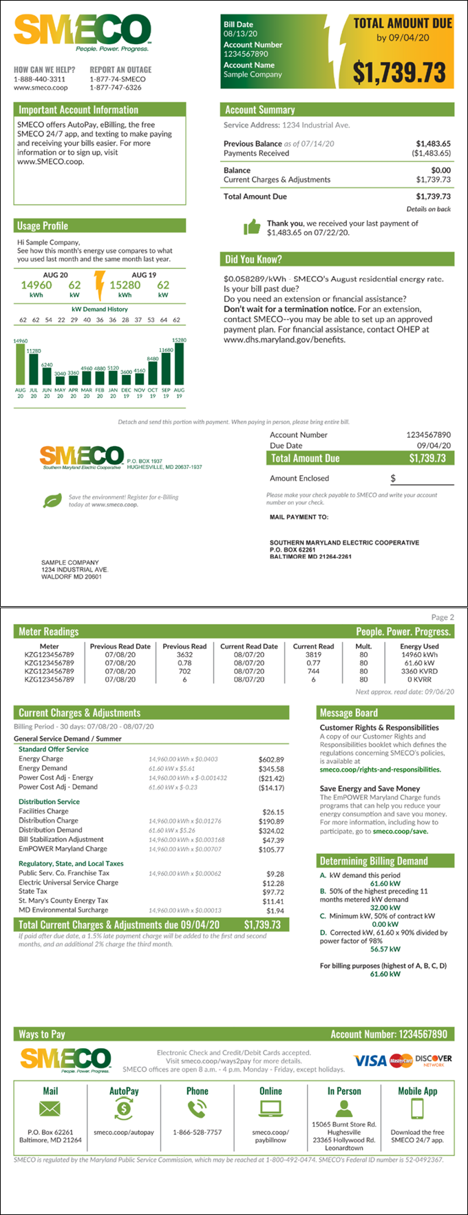 SMECO Sample Commercial Energy Bill