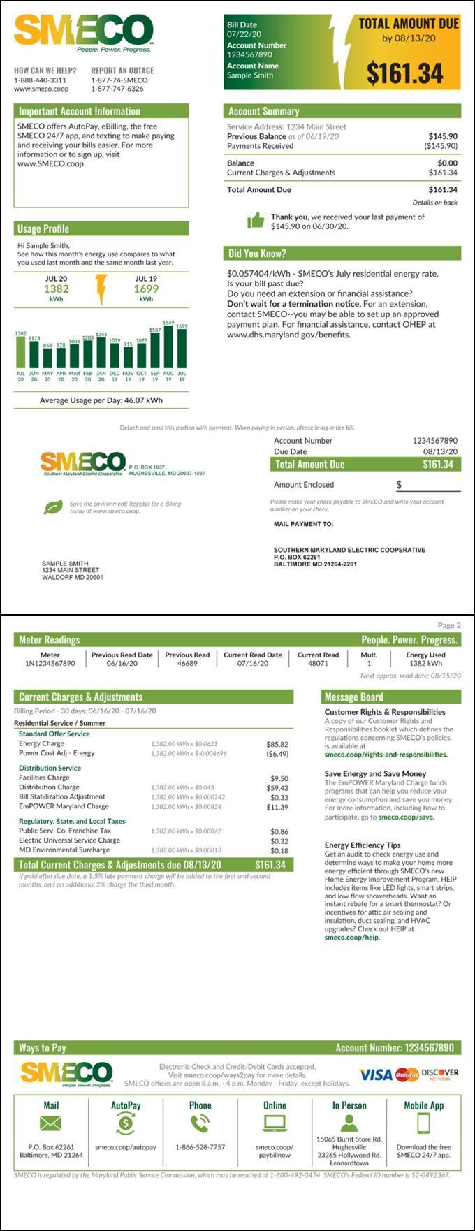 SMECO Sample Residential Energy Bill